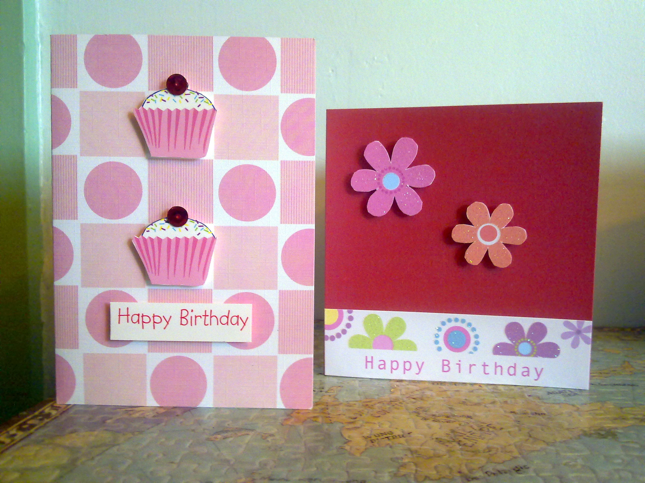 Top tips tuesday recycle your old greeting cards sew make believe the cupcakes on the first card originally had little red birds on the top i trimmed around them and added a red sequin to each hide them kristyandbryce Images